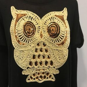 Ribbon black & gold sequin owl sweater size 1x
